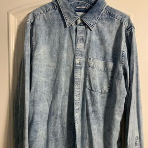 Acid Wash Mens Denim Shirt American Eagle L